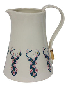 Dimpled Heart Ceramic Floral Highland Stag Jug Strap & Buckle Handle Detail