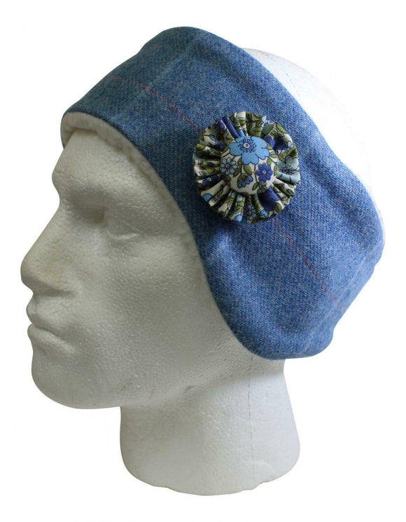 Stunning Blue Jay Pink Tweed Cosy Earwarmer Headband With Matching Corsage