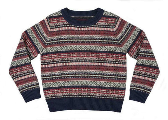 Glen Appin of Scotland Fairisle Design Wool Mix Jumper Sweater in Pink and Grey