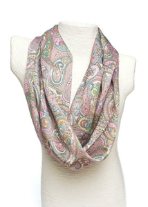 Ladycrow Luxurious Liberty Silk Satin Scarf - Pink Paisley Design