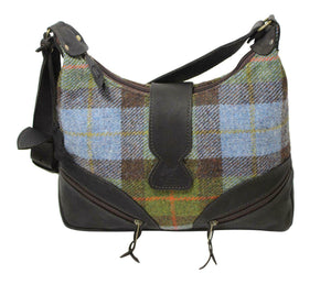Scottish Deerskin Leather Blue&Green Tartan Harris Tweed Large Lola Handbag