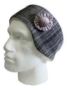 Stunning Grey Tweed Cosy Earwarmer Headband With Matching Corsage