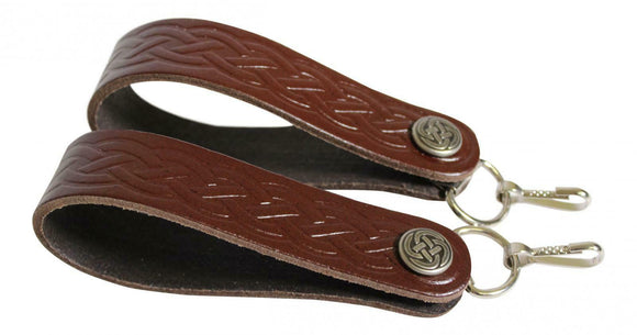 Celtic Brown Leather Sporran Suspenders - Lose the Chain