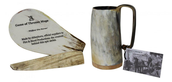 Unique Abbeyhorn Game of Thrones Medium Ox Horn Tankard Soldiers Mead Mug Cup
