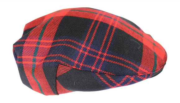 100% Regimental Heavy Weight Scottish Tartan Winter Wool Flat Cap - Brown Modern