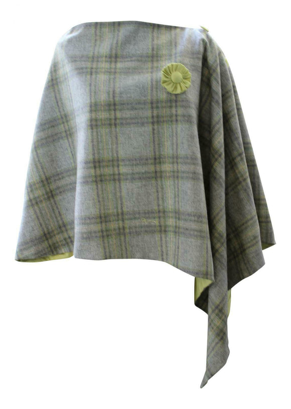Green Grey Orchard Checked Tweed Poncho Wrap with Contrasting Silk Lining