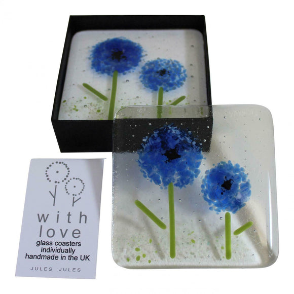 Pair of Handcrafted Glass Coasters Featuring a Blue Flower