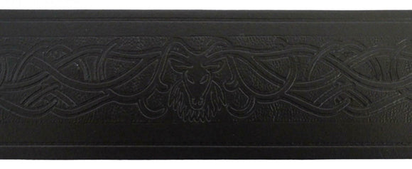 Stag Embossed 100% Black Leather Quality Buckle Kilt Belt