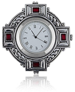 Stunning Pewter Celtic Cross Clock with Celtic Ropework and Red Enamel
