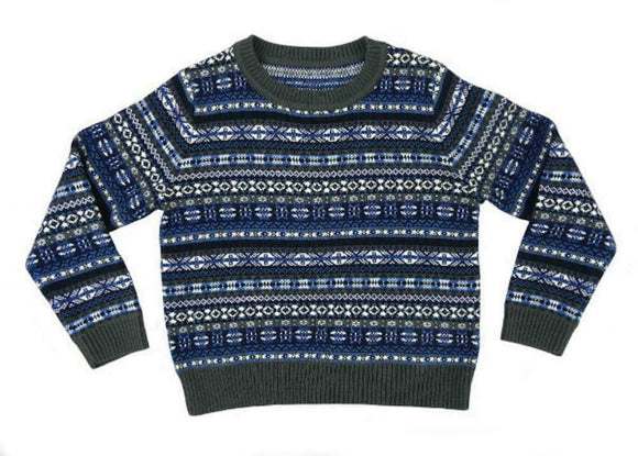 Glen Appin of Scotland Fairisle Design Wool Mix Jumper Sweater in Blue