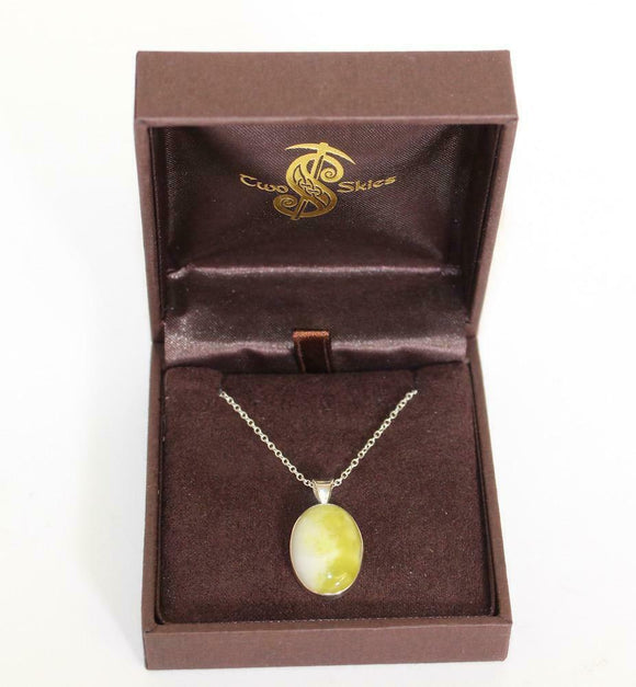 Two Skies Ltd Stunning Green Scottish Highland Marble Oval Necklace Pendant