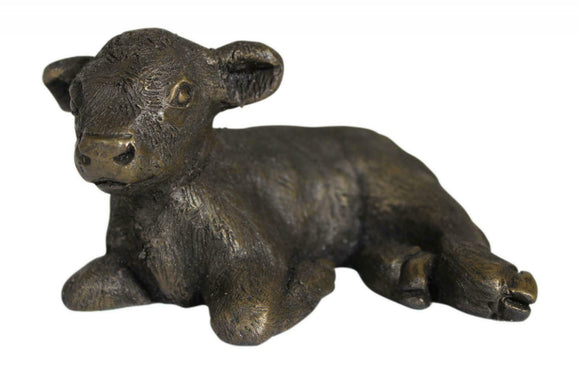 Oriele Cold Cast Bronze Laying Highland Cow Coo Calf Figure Figurine Decoration
