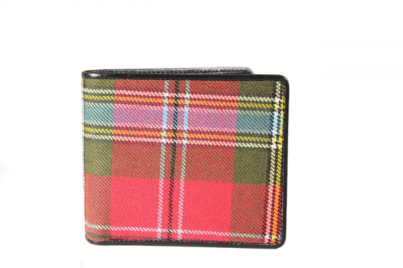 100% Scottish Tartan & Real Leather Mens Wallet - MacLean of Duart Weathered