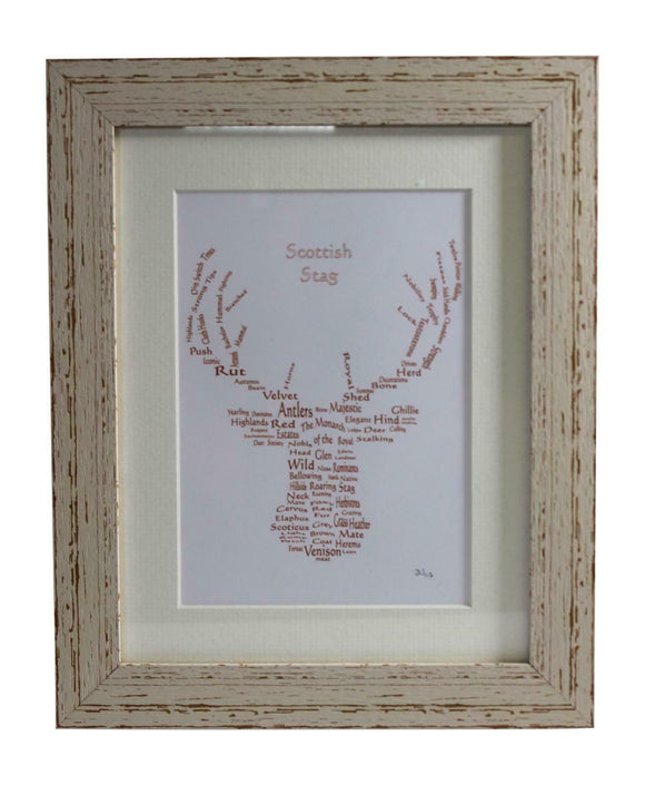 Art By The Loch Handmade Scottish Highland Stag Word Art Picture