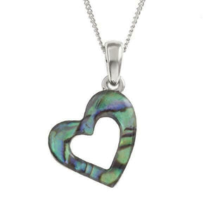 Tide Jewellery Inlaid Paua Shell Open Heart Necklace