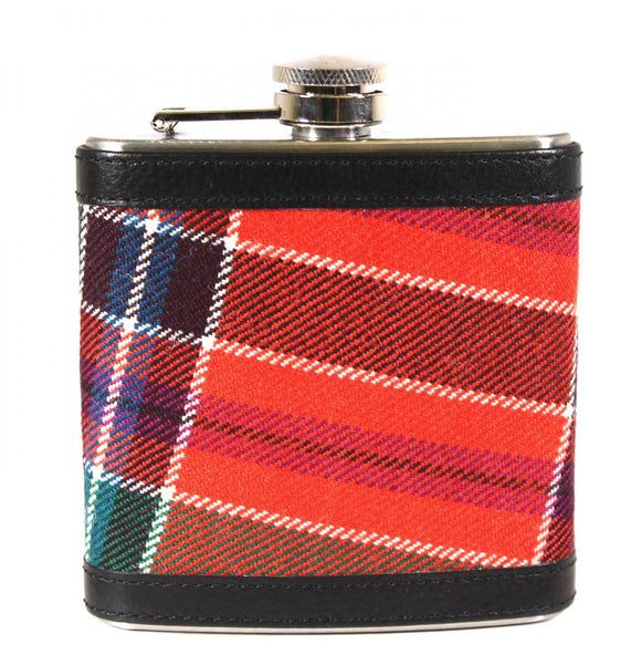 Tartan Wrapped 6oz Stainless Steel Captive Top Pocket Hip Flask - Birrell