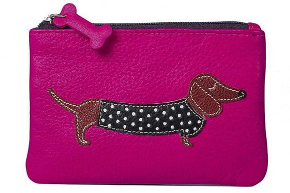 Pink Leather Zip Top Coin Pocket Purse Wallet with Dachshund Sausage Dog Applique