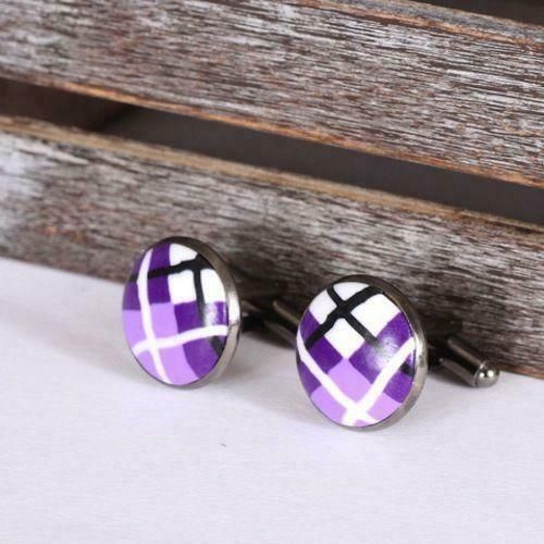 Scottish Purple Tartan Clay Cufflinks with Polished Gun Metal T-Bar Fixings