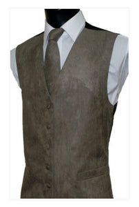 Suede Effect Gents Waistcoat Vest with Optional Matching Neck Tie - Taupe