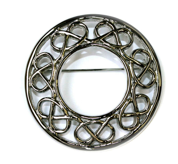 Stroma Celtic Twist Plaid Sash Scarf Brooch - Polished Chrome Finish