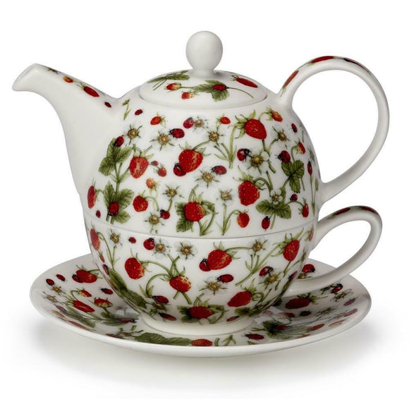 Pretty Dovedale Strawberry Ladybird Fine Bone China Tea For One Teapot Cup Saucer