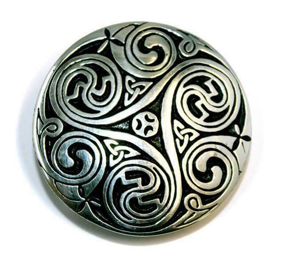 Round Celtic Swirl Interchangeable Snap Belt Buckle