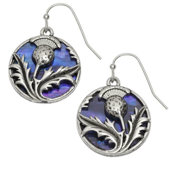 Tide Jewellery Inlaid Purple Paua Shell Scottish Thistle Hook Dangly Earrings