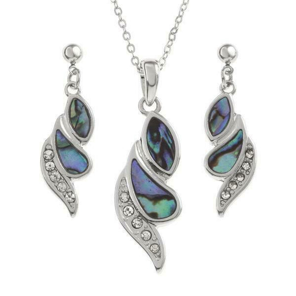 Tide Jewellery Inlaid Paua Shell Diamante Twist Necklace & Dangly Earring Set