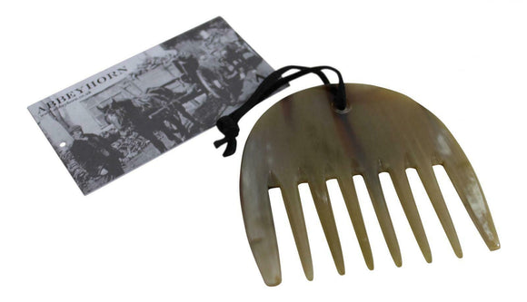 Polished Oxhorn Wide Tooth Comb Rake Horse Mane and Tail