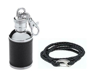 Gaventa London Black Leather Mini Hipflask Keyring & Leather Bracelet Gift Set