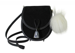 Fabulous Scottish Black Leather Suede Traditional Sporran Handbag