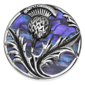 Tide Jewellery Inlaid Purple Paua Shell Scottish Thistle Brooch Pin