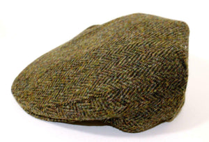 Authentic Harris Tweed Traditional Teflon Coated Dark Brown Herringbone Flat Cap