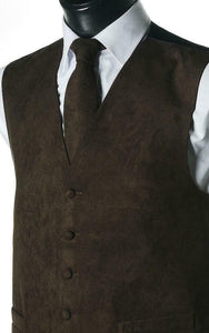 Suede Effect Gents Waistcoat Vest with Optional Matching Neck Tie - Brown