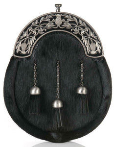 Modern Thistle Full Dress Sporran Black with Antique and Black Enamel Cantle