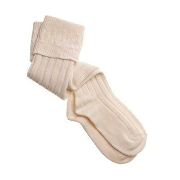Thistles Shoes High Wool Calve Length Kilt Hose Socks in Ecru Cream - UK 5 to 6