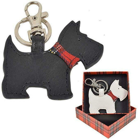 Best Friend Mala Scottie Westie Leather Keyring Fob Clip Tag - Black or White