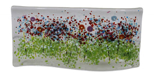 Jules Jules Hand Crafted Meadow Garden Scene Fused Glass Wave Panel