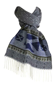 Calzeat of Scotland Grey and Blue Saltire Celtic  Jacquard Wool Scarf