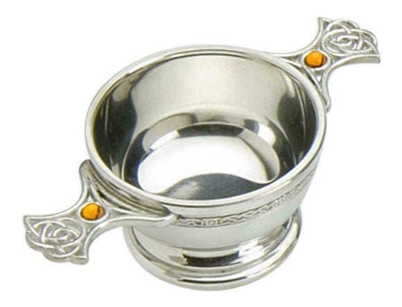 Traditional Scottish 4 Inch Pewter Toasting Quaich, Eternal Celtic Handles-Topaz
