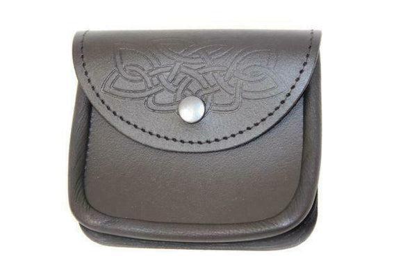 100% Black Leather Medium Belt Pouch Sporran Bag Piper Drummer Kilt - Embossed