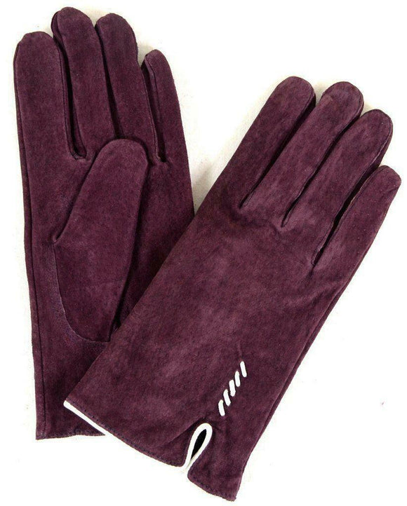 Eastern Counties British Suede Fleece Lined Ladies Gloves Purple & Cream Detail