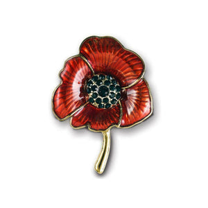Alexander Thurlow Red Enamel Poppy Pin Brooch with Black Stone centre