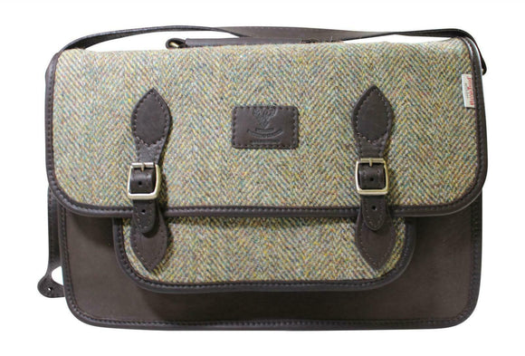Wild Scottish Black Deerskin & Traditional Green Herringbone Harris Tweed Satchel
