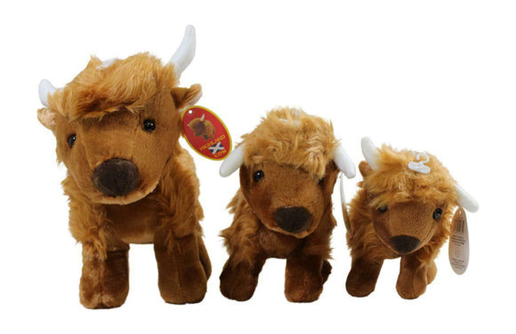 Very Cute & Soft Plush Brown Traditional Highland Cow Coo - 3 sizes Available