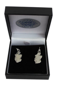 Brave Scottish Gifts Stunning Scotland Map Polished Pewter Dangle Earrings