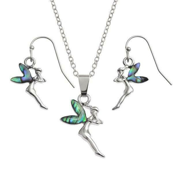 Tide Jewellery Inlaid Paua Shell Fairy Necklace & Dangly Earring Set