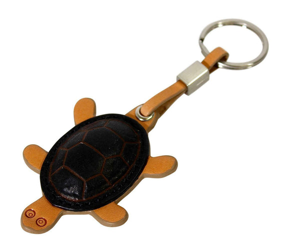 Tony Perotti Italian Brown Red Black Tan Leather Key Chain Turtle Keyring