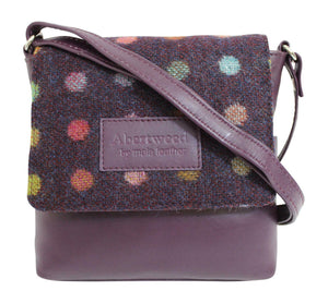 Mala Abertweed British Leather Flap Over Purple Check Cross Body Bag Purse