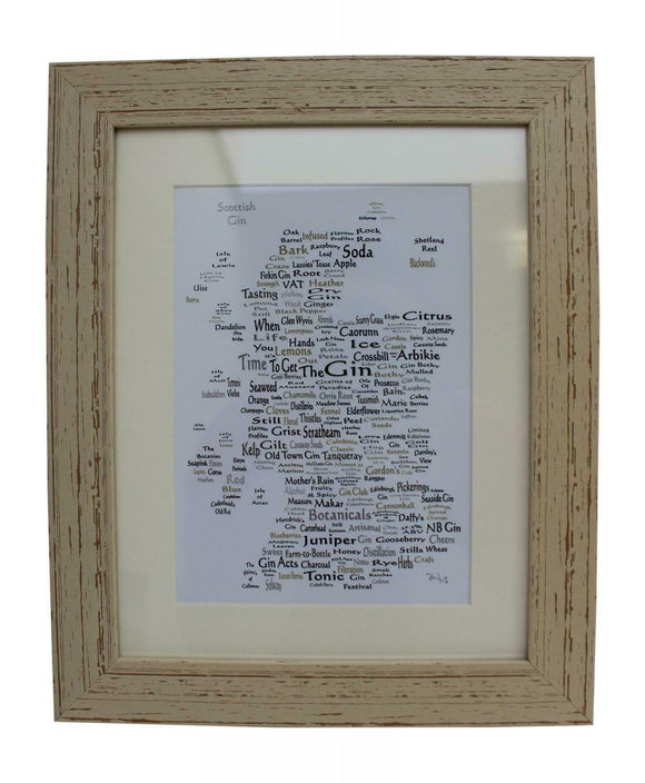 Art By The Loch Handmade Scottish Gin Alcohol World Map Word Art Picture